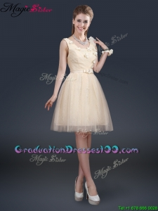 Lovely Scoop Classical Graduation Dresses with Appliques and Belt