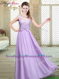Pretty Scoop Bowknot Lavender Best Selling Graduation Dresses for Fall