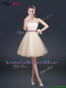 Beautiful Scoop Most Popular Graduation Dresses with Appliques and Belt