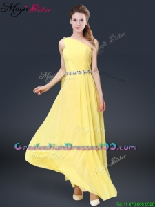 Fashionable One Shoulder Long Graduation Dresses in Yellow