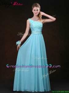 Inexpensive Empire One Shoulder Elegant Graduation Dresses with Appliques