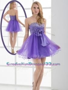 2016 Beautiful Sweetheart Eggplant Purple Short Graduation Dresses with Beading
