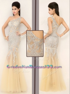 2016 Gorgeous Mermaid One Shoulder Beading Graduation Dresses in Champagne