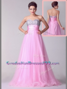 2016 Lovely A Line Brush Train Rose Pink Graduation Dresses with Beading for Spring