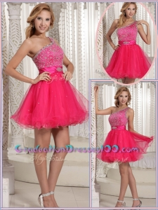 Gorgeous One Shoulder Beading Short Graduation Dresses for 2016