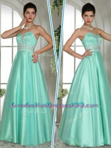 2016 Elegant A Line Sweetheart Beading Graduation Dresses in Apple Green
