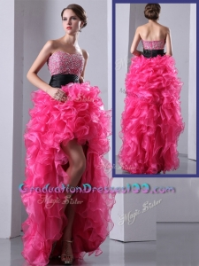 2016 Exquisite High Low Hot Pink Graduation Dress with Ruffles