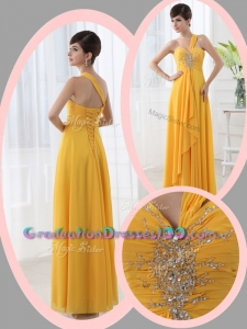Cute Empire One Shoulder Beading Orange Graduation Dresses for Holiday