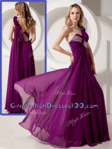 Cute One Shoulder Hand Made Flowers Graduation Dresses with Beading
