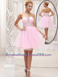 Exquisite Strapless Beading Short High School Graduation Dress for Homecoming
