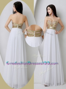Fashionable Sweetheart White High School Graduation Dresses with Beading and Sequins