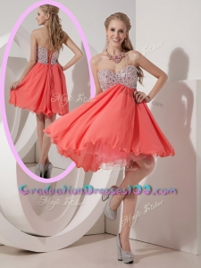 Lovely Sweetheart Mini Length Beading High School Graduation Dress for Homecoming