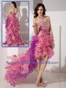 Luxurious High Low Beading High School GraduationDresses in Multi Color