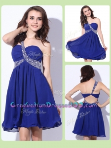 Fashionable One Shoulder Criss Cross High School Graduation Dresses with Beading