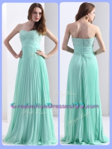 2016 Modest Empire Beading and Sequins Apple Green Graduation Dresses with Brush Train