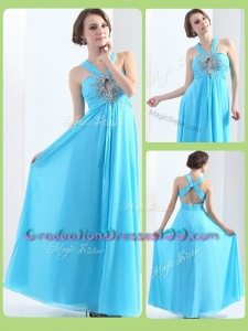 Affordable Modest Halter Top Criss Cross Graduation Dresses with Beading