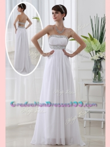 Affordable Modest Strapless Brush Train Beading Graduation Dress in White