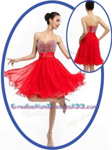 Modest Sweetheart Red Short Graduation Dresses with Beading