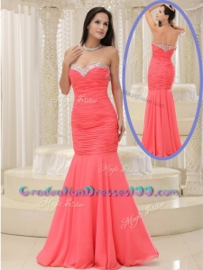 New Modest Style Mermaid Sweetheart Coral Red Graduation Dress