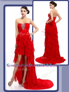 Cheap Sexy High Low Beading and Ruffled Layers Graduation Dresses in Red