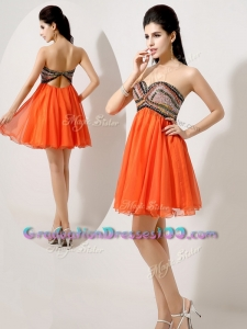 Low Price Sexy Short Orange Red Graduation Dresses with Beading and Sequins