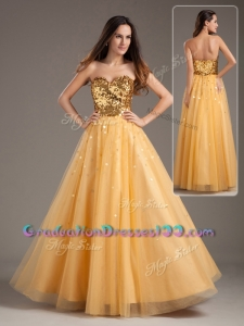 Modest Princess Sweetheart Sequins Long Graduation Dresses in Gol