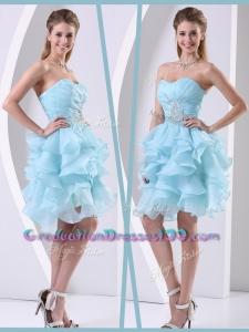 Prett Sexy Mini Length Sweetheart Graduation Dress with Beading and Ruffles