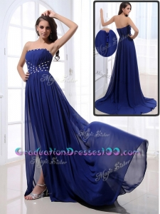 Sexy Brush Train Strapless Beading Graduation Dresses in Royal Blue
