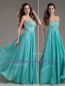 Sexy Empire Strapless Turquoise Long Graduation Dress