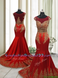 2017 Beautiful Brush Train Mermaid Cap Sleeves Graduation Dress with Beading and Appliques