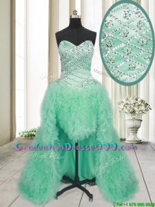 2017 Elegant High Low Brush Train Beaded and Ruffled Graduation Dress in Apple Green