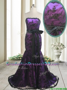 2017 Hot Sale Laced and Bowknot Strapless Black and Purple Graduation Dress with Brush Train