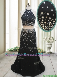2017 Luxurious Two Piece Halter Top Backless Black Graduation Dress with Brush Train