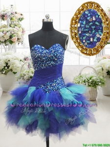 2017 Most Popular Two Tone Sweetheart Short Graduation Dress with Beading and Ruffles