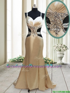 Gorgeous Cut Out Waist Mermaid Straps Criss Cross Graduation Dress in Elastic Woven Satin