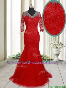 Lovely Mermaid V Neck Brush Train Laced Red Graduation Dress with Half Sleeves