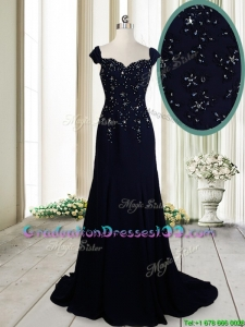 Luxurious Brush Train Straps Cap Sleeves Navy Blue Graduation Dress in Chiffon