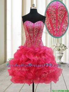 New Arrivals Visible Boning Beaded Bodice and Ruffled Hot Pink Graduation Dress