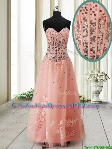 Pretty Visible Boning See Through Applique and Beaded Long Graduation Dress in Tulle