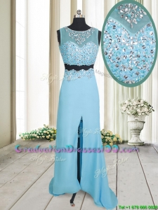Two Piece See Through Brush Train Aquamarine Graduation Dress with Beading and High Slit