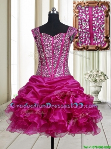 2017 Pretty Visible Boning Straps Beaded Bodice and Ruffled Graduation Dress in Fuchsia