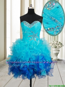 Best Beaded and Ruffled Organza Short Graduation Dress in Gradient Color
