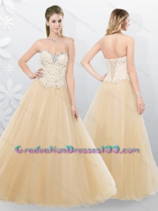 2016 Fall Lovely A Line Beading Graduation Dresses in Champagne