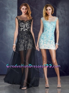 Short Inside Long Outside Bateau Applique Light Blue Graduation Dresses in Black for 2016