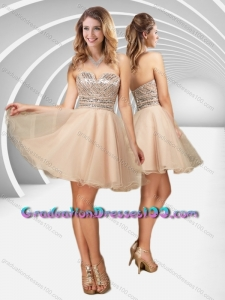 New Arrivals V Neck Champagne A Line Graduation Dresses with Sequins for 2016