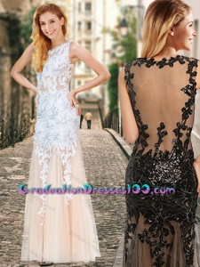 See Through Back Scoop Champagne Graduation Dresses with Appliques