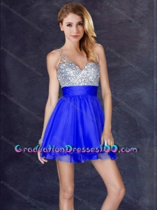 Modern Sequined A Line Short Graduation Dresses in Royal Blue