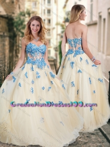 Pretty Visible Boning Tulle Champagne Graduation Dresses with Blue Appliques
