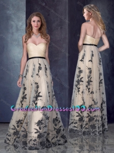 Custom Designed Empire Belted and PrintedGraduation Dresses in Champagne