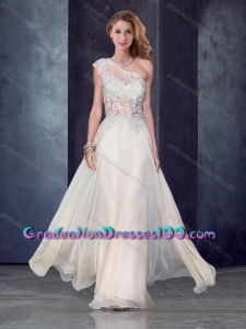 One Shoulder Applique Champagne Graduation Dresses with See Through Back